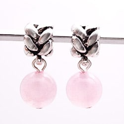 Silvertone Rose Quartz Dangle Charm Beads (Set of 2)