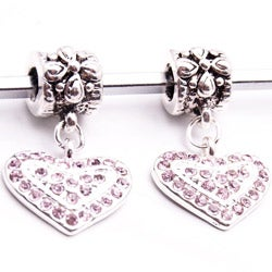 Silvertone Pink Crystal Heart Dangle Charm Beads (Set of 2)