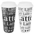Konitz Black and White Cafe Latte Large Travel Mugs (Set of 2)