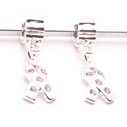 Silvertone Pink Crystal Ribbon Dangle Charm Beads (Set of 2)