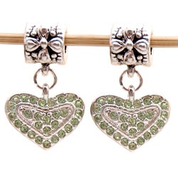 Bleek2Sheek Silvertone Green Crystal Heart Dangle Charm Beads (Set of 2)