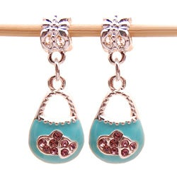 Bleek2Sheek Silvertone Blue Enamel and Crystal Purse Charms (Set of 2)