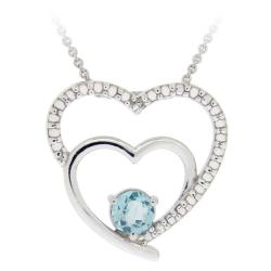Glitzy Rocks Sterling Silver Blue Topaz and Diamond Heart Necklace