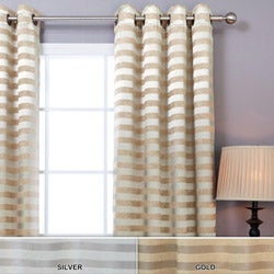 Satin and Suede Stripe Grommet 84-inch Curtain Pair