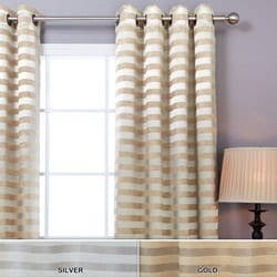 Lights Out Satin and Suede Stripe Grommet 84-inch Curtain Pair