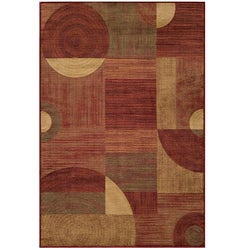 Power-loomed Illusion Red Rug (9'3 x 12'6)