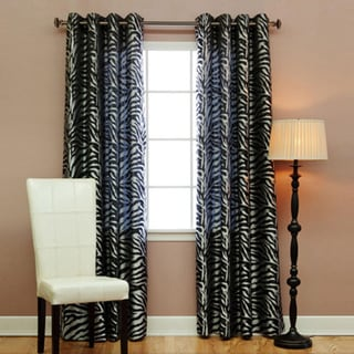 Lights Out Zebra Jacquard Grommet 84-inch Room Darkening Curtain Pair