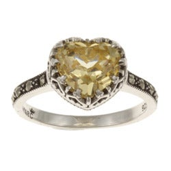 MARC Sterling Silver Yellow Cubic Zirconia and Marcasite Heart Ring