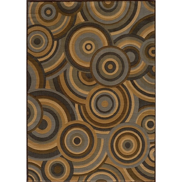 Illusion Power-loomed Concentric Circles Blue Rug (3'11 x 5'7)