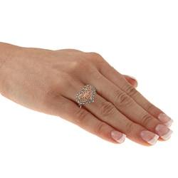 MARC 14k Rose Gold over Sterling Silver Marcasite Filigree Heart Ring