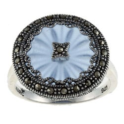 Sterling Silver Blue Sunray Crystal and Marcasite Ring