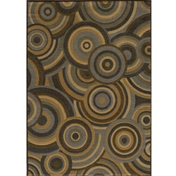 Illusion Circles Blue Rug (9'3 x 12'6)