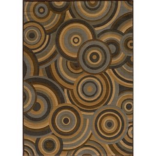 Illusion Power-loomed Concentric Circles Blue Rug (9'3 x 12'6)