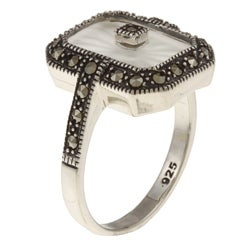 Sterling Silver White Sunray Crystal and Marcasite Ring