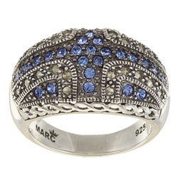 Sterling Silver Blue Crystal and Marcasite Domed Ring