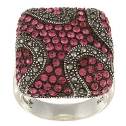 Sterling Silver Pink Crystal and Marcasite Cocktail Ring