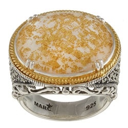 MARC 14K Yellow Gold Flashing Edge over Sterling Silver Crystal Gold Leaf Mother of Pearl Doublet and Marcasite Ring