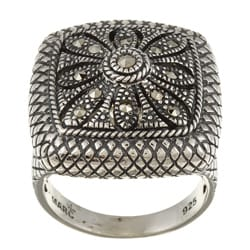 MARC Sterling Silver Marcasite Crosshatch Cocktail Ring
