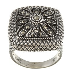 Sterling Silver Marcasite Crosshatch Cocktail Ring