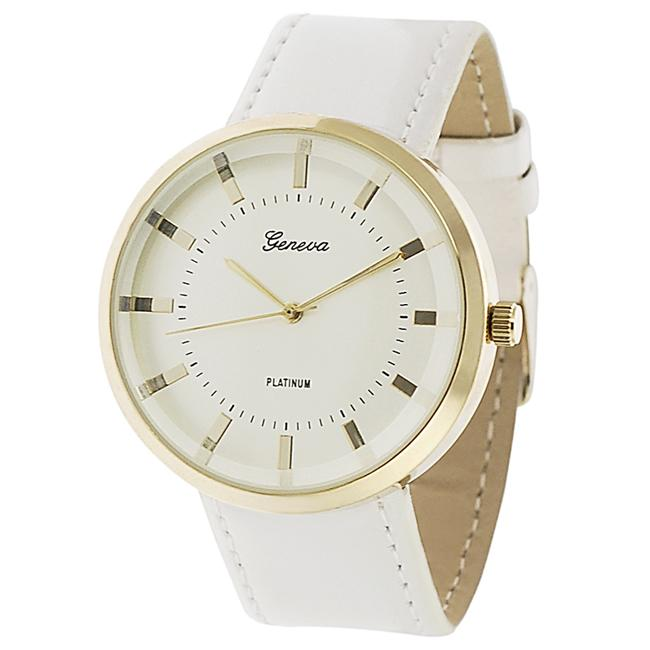 Geneva Platinum Women's Ivory Simulated Patent Leather Watch