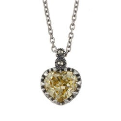 MARC Sterling Silver Yellow Cubic Zirconia and Marcasite Heart Necklace