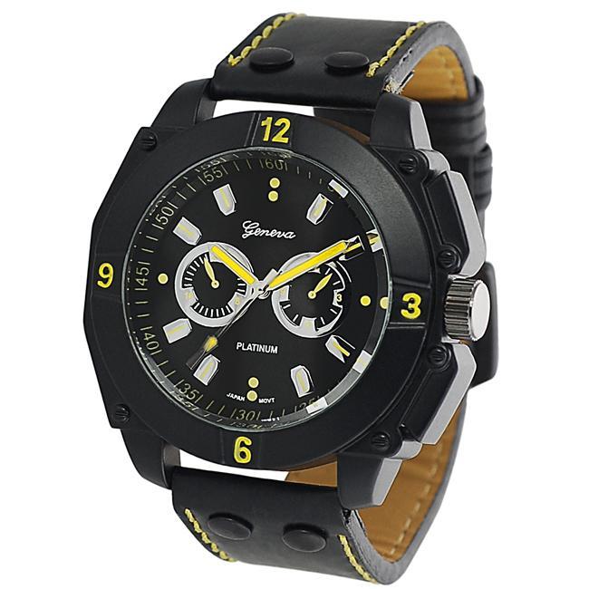 Geneva Platinum Men's Chronograph-style Quartz Strap Watch