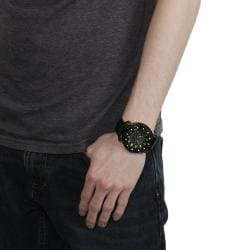 Geneva Platinum Men's Rhinestone-accented Genuine Leather Watch