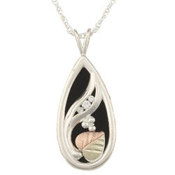 Black Hills Gold and Silver Onyx and Cubic Zirconia Necklace