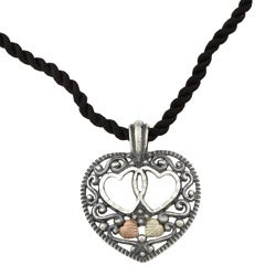 Black Hills Gold and Silver Antiqued Heart Necklace