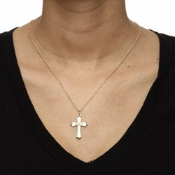 Black Hills Gold White Powdercoated Brass Cross Necklace