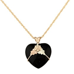 Black Hills Gold Onyx Heart Necklace