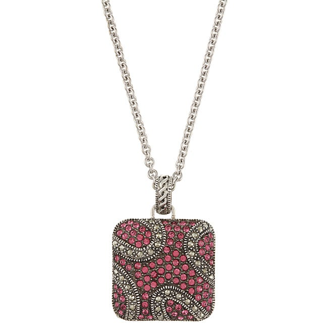 MARC Sterling Silver Pink Crystal and Marcasite Square Necklace
