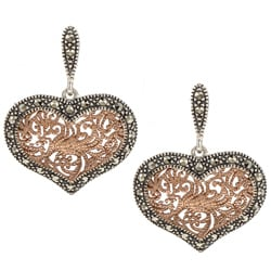 Sterling Silver Marcasite Rose Goldtone Heart Earrings