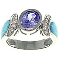 CGC Sterling Silver Created Opal and Cubic Zirconia Dramatic Style Ring