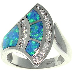 CGC Sterling Silver Created Opal and Cubic Zirconia Stylish Fan Ring