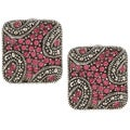 Sterling Silver Pink Crystal and Marcasite Square Earrings