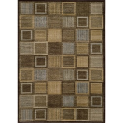 Illusion Brown Blocks Rug (3'11 x 5'7)