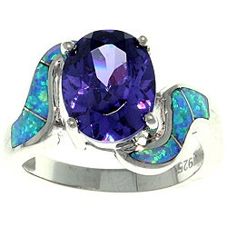 CGC Sterling Silver Cubic Zirconia and Created Opal Purple Passion Ring