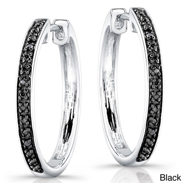 Victoria Kay Sterling Silver 1/8ct TDW Diamond Hoop Earrings (J, I2-I3)