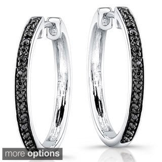 Sterling Silver 1/8ct TDW Diamond Hoop Earrings (J, I2-I3)