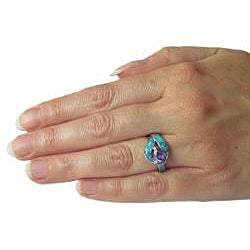 CGC Sterling Silver Cubic Zirconia and Created Opal Teardrop Embrace Ring