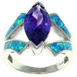 CGC Sterling Silver Cubic Zirconia and Created Opal Marquise Design Ring