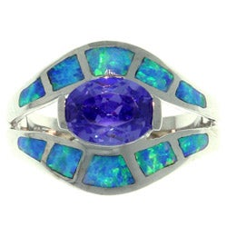 CGC Sterling Silver Cubic Zirconia and Created Opal Exotic Shape Ring