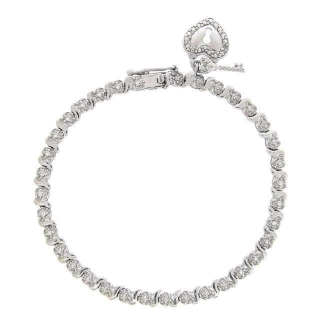 DB Designs Sterling Silver Diamond Accent Heart and Key Bracelet