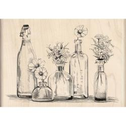 Inkadinkado Bottle Row Mounted Rubber Stamp