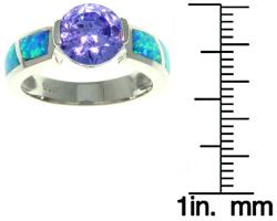 CGC Sterling Silver Cubic Zirconia and Created Opal Sparkling Sphere Ring