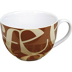 Konitz 'Script Collage' Brown/ Beige Cafe au Lait Mugs (Set of 4)