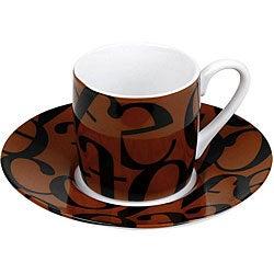 Konitz Espressos Script Collage Black/ Brown Cups and Saucers (Set of 4)