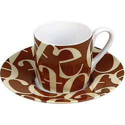 Konitz Espressos Script Collage Beige/ Brown Cups and Saucers (Set of 4)