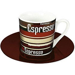 Konitz Espressos Coffee Stripes Cups and Saucers (Set of 4)